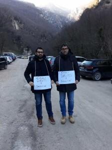 Protesta del sindaco di Cagli a difesa dell'ospedale Celli all'inaugurazione della bidonvia del Catria il 9 febbraio 2019